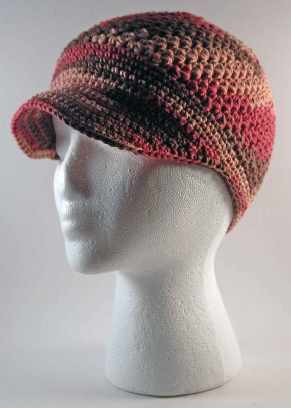 Free Crochet Pattern Newsboy Style Cap : Crocheted Newsboy Style Ladies Cap Raspberry Swirl by ...