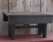 Primitive Rustic Folk Art Bench In Olde Stovepipe Black Paint