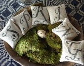 Primitive Monogram Balsam Fir Rustic Pillow