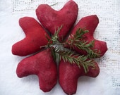 Primitive Country Folk Art Red Cinnamon Hearts