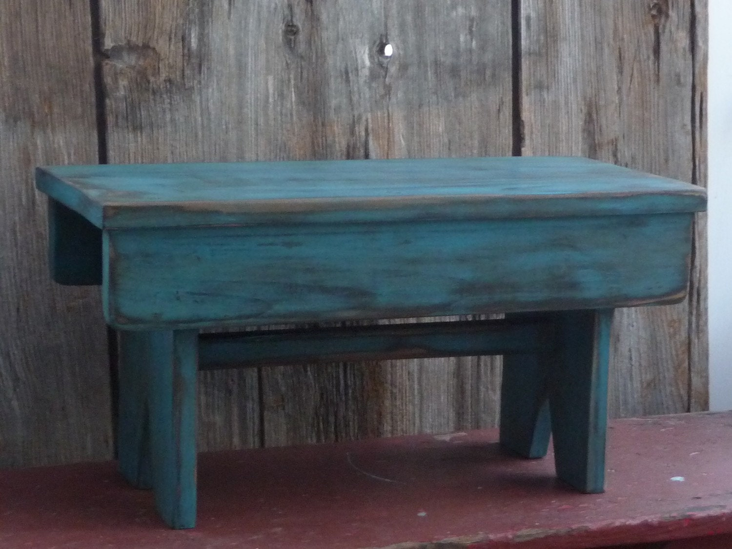 Primitive Rustic Folk Art Bench In Old Blue Paint