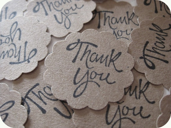 50 Round Scallop Edge Kraft Paper THANK YOU Stickers