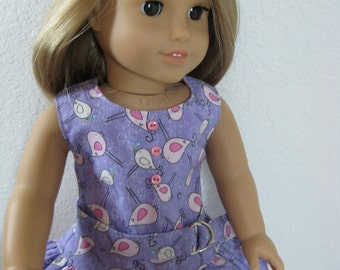 REDUCED 18 inch Doll Clothes Little Birdies Double Ruffle Dress fits American Girl