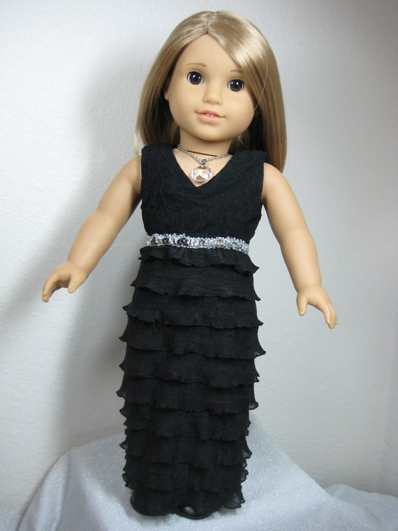 18 inch doll clothes american girl black organza dress for Garden tools for 18 inch doll