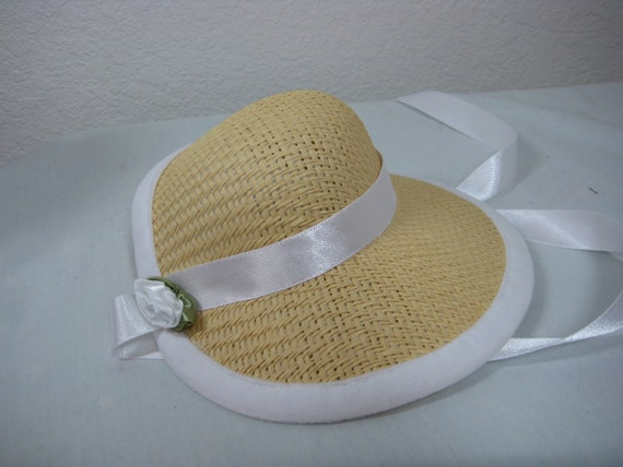 18 inch Doll Clothes American Girl  White Trim Poke Bonnet for Marie Grace and Cecile