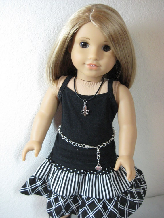 CLOSE OUT SALE 18 inch Doll Clothes American Girl Black and White Tiered Skirt Outfit