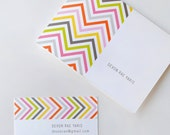 Chevron business cards, calling cards, personalized stationery, modern design, SET OF 36