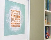 Happy Travels inspirational quote print poster - ready to ship - 8x10 - custom colors