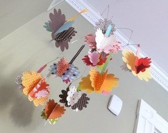 Flower Mobile, baby mobile, modern baby mobile, paper flowers, modern nursery art, custom baby mobile, custom baby gift, chrysanthemum