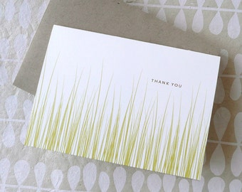 Fresh Cut Grass thank you notes cards personalized stationery, natural, green, DIGITAL FILE