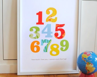 Patterned Numbers Print Primary Colors modern graphic nursery wall art poster - ready to ship - 8x10