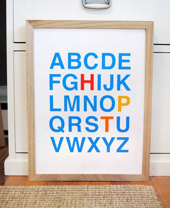 Alphabet wall art with initials in Helvetica, CUSTOM, LARGE