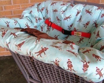 Sock Monkey Shopping Cart Cover - Blue Reversible - Fits ALL Carts, Restaurant High Chairs and Park Swings