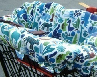 Shopping Cart Cover - Blue Zoo Reversible - Fits ALL Carts