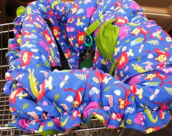 Shopping Cart Cover -  Jungle Jumble - Reversible  - Fits Restaurant High Chairs, Park Swings, and ALL SIzes of Carts