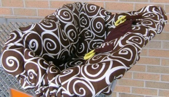 Chocolate Swirl Reversible Boutique Shopping Cart Cover - Fits ALL Carts