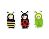 Russian Doll Bug Magnet Set