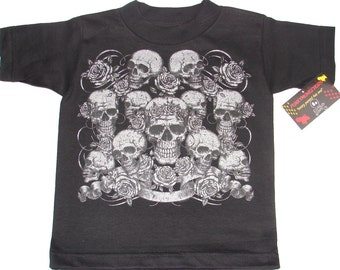 NWT BLACK TODDLER TEE OF METALIC SKULLS AND ROSES