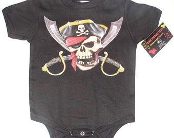 nwt black infant bodysuit or toddler tee of a pirate with swords jolly roger