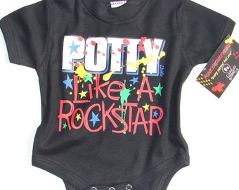 nwt black bodysuit or toddler tee with wording potty like a rock star