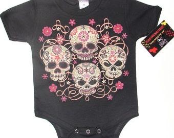 NWT black infant bodysuit or toddler tee of 4 skulls