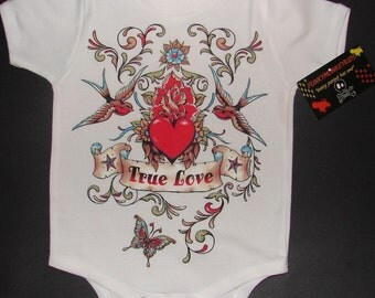 nwt white bodysuit or toddler tee of wording true love