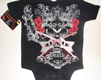 nwt black infant bodysuit or toddler tee of skulls roses and two guitars  rock n roll to death