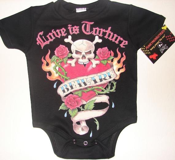 nwt black bodysuit or toddler tee of heart, flames, roses and crossed bones skull love is torture