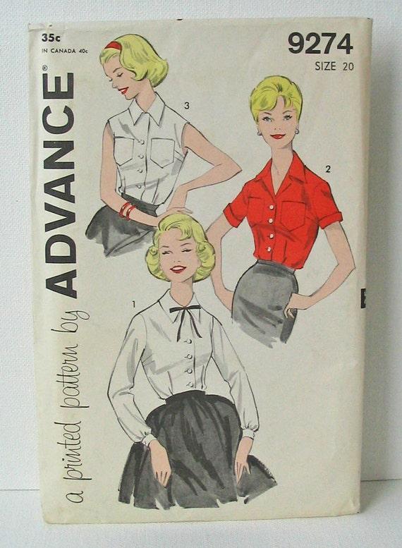 "Vintage Advance 9274 Misses' Tailored  Blouse Size 20 Bust 40"""
