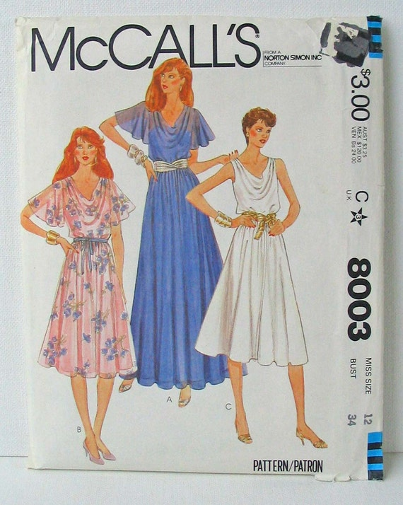 """McCalls 8003 Misses' Dress with Flutter Sleeves and Slip  Size 12 Bust 34"""""""