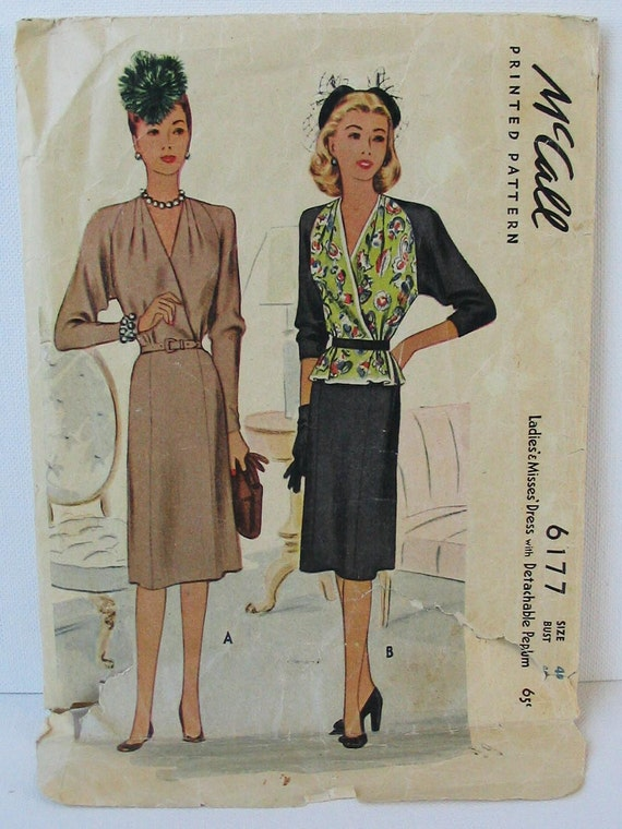 """RESERVED FOR NATHALIE Vintage McCalls 6177  Misses' Dress with Detachable Peplum bust 40"""""""
