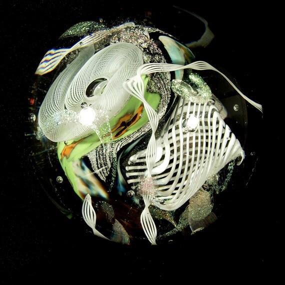 Mentuck Art glass paperweight Latticino Dichroic Murrini FREE SHIPPING