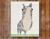 Peeping Horse 8 x 10 Quilt Block Pattern