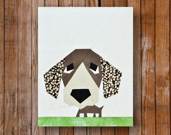 Peeping Puppy 8  x  10 Quilt block Pattern