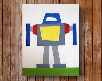 Big Bob Robot  8 x 10 Quilt block Pattern