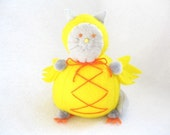 Yellow Chicken-Cat Pincushion - Silly Pincushion Cat - cute felt kitty cat collectable - Gift for sewer - Animal lover gift - Clark - MTO