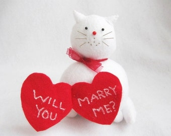 Surprise Proposal Cat Pincushion - Will You Marry Me Wedding Proposal Cat - cute felt cat or Gift for cat lover - MTO