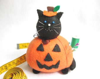 Halloween Jack-O-Lantern Fat Cat Pincushion - Black and Orange Felt Cat - cute felt kitty cat collectable - Gift for cat lover - MTO