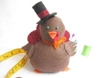 Turkey Pincushion, Cute Turkey Decoration, Felt Turkey, Stuffed Turkey,  Fabric Turkey,