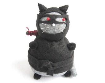 Ninja cat, Cute pincushion, Black fat cat, Stuffed cat, Felt ninja, Cute felt kitty decor, Funny cat gift, Black and gray cat, Ninja doll