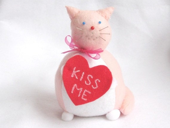 "Cat Pincushion ""Kiss Me"" Kenneth cute felt kitty cat collectable or gift for animal lover...LAST ONE In Stock...DISCONTINUED"