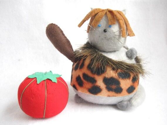 Caveman cat, Cat pin cushion, Cute caveman, Cute felt kitty, Animal print cat, Funny caveman, Silly cat gift, Soft cat, Cat doll, MTO