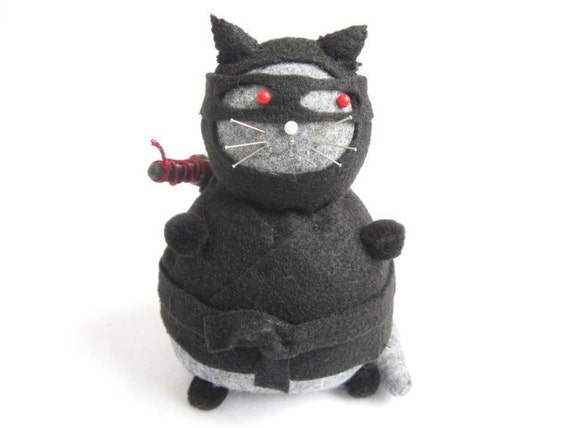 Ninja cat, Cute pincushion, Black fat cat, Stuffed cat, Felt ninja, Cute felt kitty decor, Funny cat gift, Black and gray cat, Ninja doll