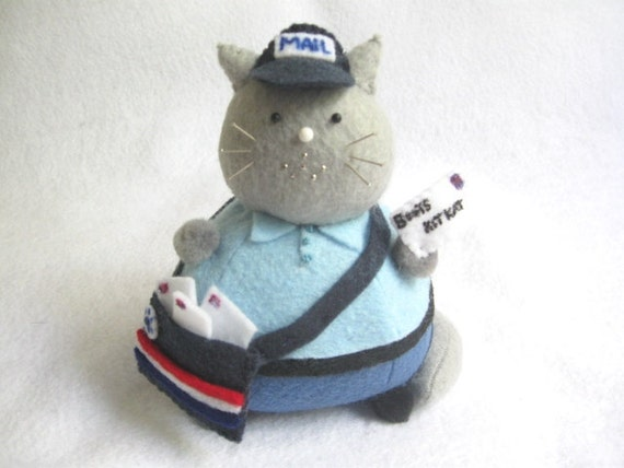 Postman Cat Pincushion - Felt Mailman Worker Cat - cute felt kitty cat collectable Gift for cat lover Gift for Postal Worker - MTO