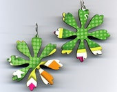 Green Dot Trivial Pursuit Game Board Earrings by Harriete Estel Berman