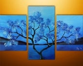 Abstract Painting, Original Painting, Landscape Painting, Asian Painting, Tree Painting, Wall Decor, Wall Art, Blue, Art, Made To Order