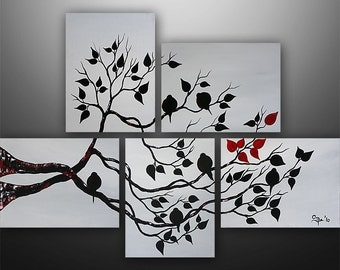 Abstract Painting, Love Birds, Tree Painting, Acrylic Painting, Wall Decor, Wall Art, Art by Gabriela, Art, Black White Red, Made To Order
