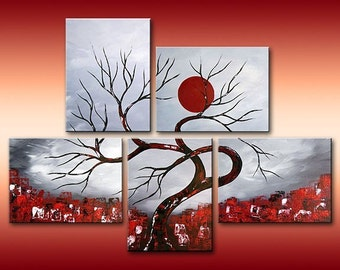 Abstract Painting, Landscape Painting, Asian Painting, Tree Painting, Wall Decor, Wall Art, Black White Red, Art by Gabriela. Made To Order