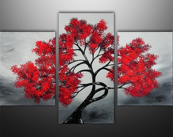 Abstract Painting,Landscape Painting, Wall Art, Wall Decor, Tree Painting, Black White Red, Painting, Large Painting, Made To Order