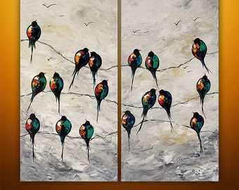 Abstract Painting, Art, Acrylic Painting, Large Painting, Birds On A Wire Painting, Love Birds, Art, Wall Art, Wall Decor, Made To Order